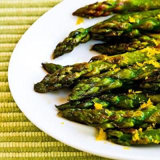 Pan-Fried Asparagus Tips with Lemon Juice and Lemon Zest.