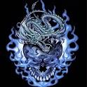 Dragon n Skull In Blue logo