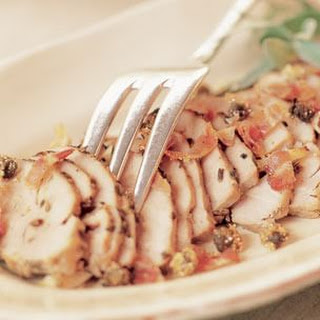 Rosemary-Sage Pork Tenderloin with Pancetta and Fried Capers