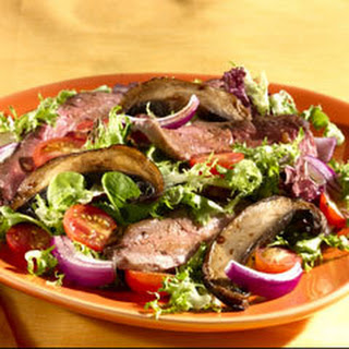 Grilled Flank Steak With Portobello Mushrooms.