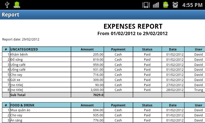 T2Expense - Money Manager - screenshot