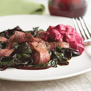 Grilled Flank Steak with Sauteed Beet Greens and Creamy Horseradish Beets.