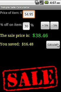 Simple Sale Calculator - No Ad - screenshot thumbnail