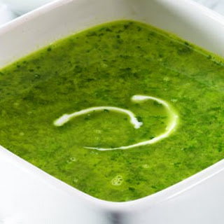 Green Leaf Soup With Spicy Sweet Yogurt