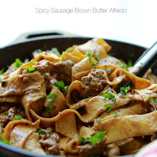 Spicy Sausage Brown Butter Alfredo Pasta.