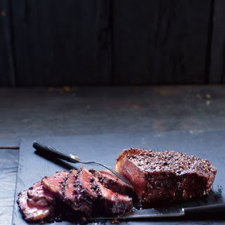 Steak au Poivre with Balsamic Reduction.