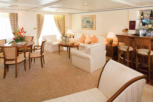 Grand_Suite_Silver_Shadow_Whisper - The Grand Suite on decks 6, 7 and 8 aboard the Silver Whisper holds up to four guests.