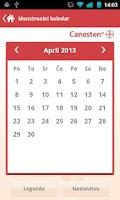 Screenshot of Menstrualni koledar Canesten