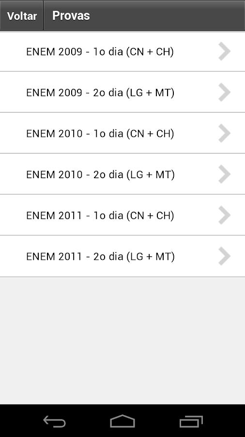 Provas e Simulados ENEM - screenshot