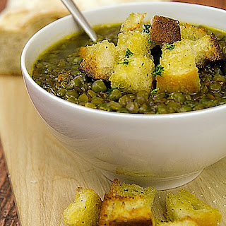 Lentil And Green Pea Soup With Diced Toasted Bread