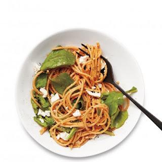 Peppadew Pesto Spaghetti with Feta and Arugula Recipe