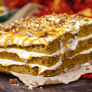 Harvest Pumpkin Spice Cake with Cheesecake Frosting