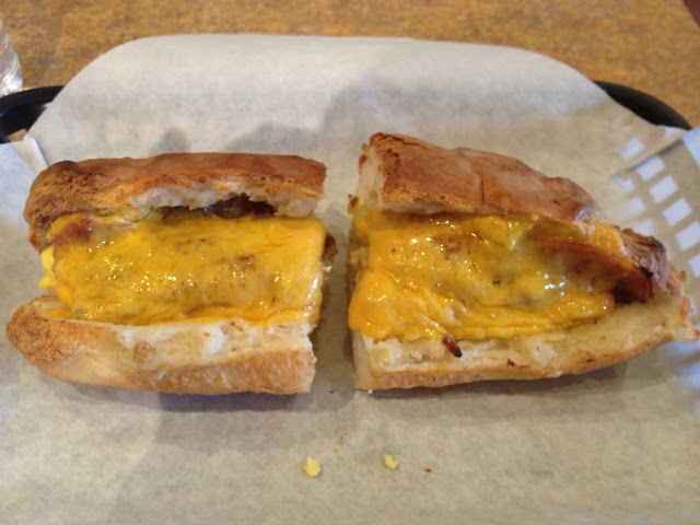 G-Free egg, sausage and bacon breakfast sandwich