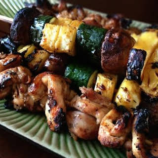 Grilled Coconut Sticky Chicken with Pineapple-Veggie Kabobs.