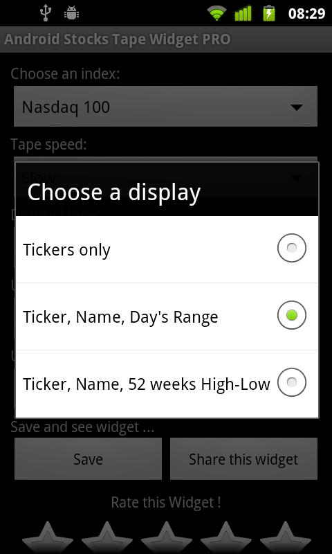 Android Stocks Tape Widget PRO - screenshot