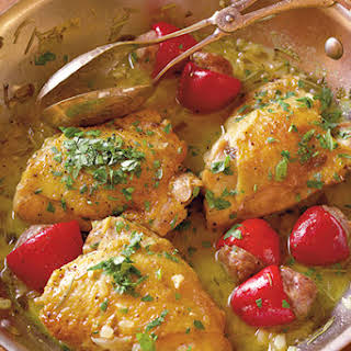 Chicken with Pork-Stuffed Cherry Peppers.