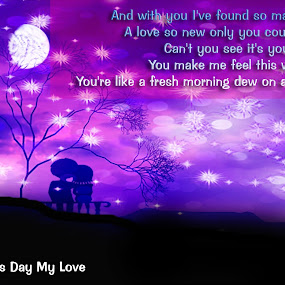 Couple watching the moon , I Love you by Sharmila Narwani - Typography Quotes & Sentences ( valentine day greeting, moon, stars, lyrics, love couple, love, postcard, valentine's day )