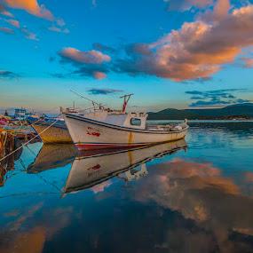 good morning by Enver Karanfil - Transportation Boats ( reflection, urla, fishing shelter, d80, sigma, boats, nikon, izmir )
