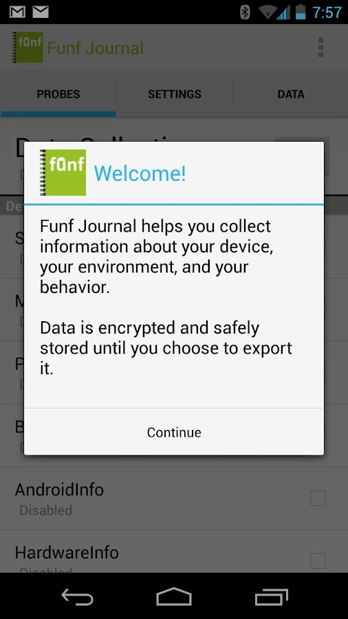 Funf Journal- screenshot