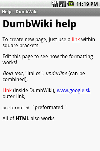 DumbWiki - screenshot