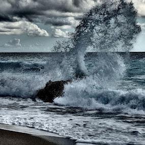 Sea by Pipia Kanjeva - Nature Up Close Water ( #sea #splash #wave #beach #dramatic,  )