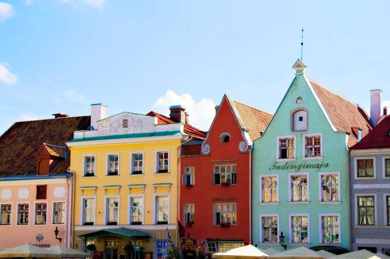Charming shops line the streets of Tallinn, Estonia.
