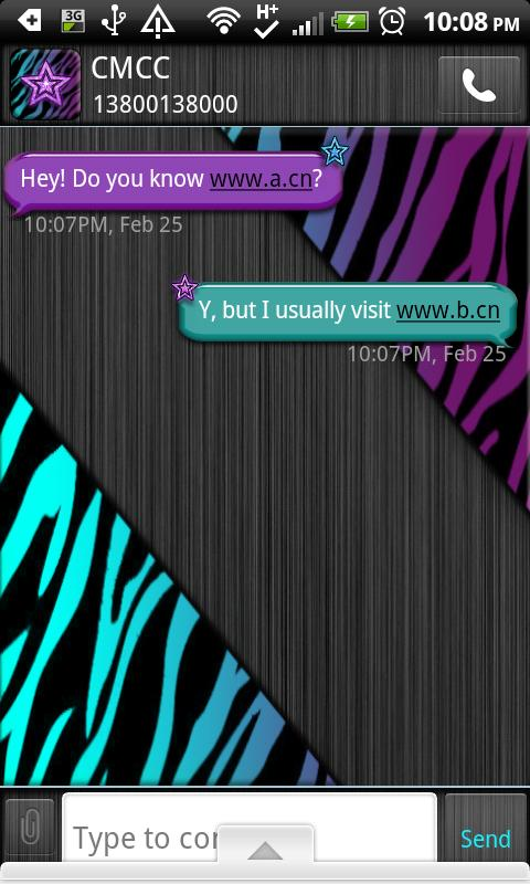 GO SMS THEME/MultiColorZebra- screenshot