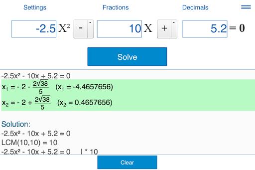 Quadratic equations calculator