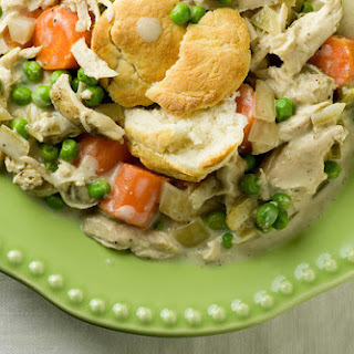 Creamy Slow Cooker Chicken with Biscuits.