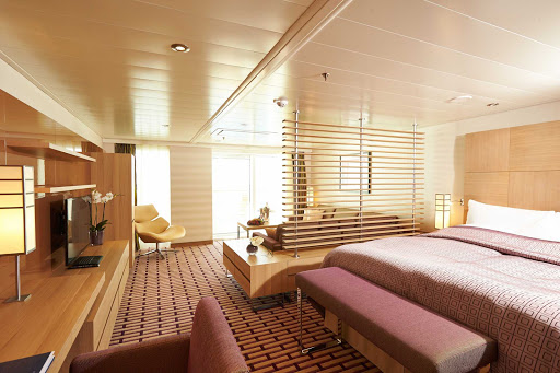 Check into a Spa Suite aboard Europa 2 and you'll find a warm interior, lots of space, a spa bathroom and nice little touches.