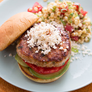 Mexican-Style Turkey Burger with Warm Corn-Tomato Salad