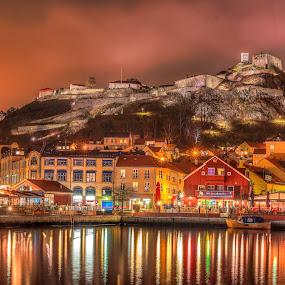 Halden - Norway by Johannes Mikkelsen - Landscapes Waterscapes ( mountain, bright, colorful, waterscape, harbour, reflections, ocean, architecture, landscape, glow, dock, norway, city, lights, night photography, awesome, fortress, d800, buildings, norge, nikon, fairytale, photoshop, water, photomatix, hdr, colors, sea, seascape, nightscape, amazing, magic, halden, castle, , mood factory, vibrant, happiness, January, moods, emotions, inspiration, city at night, street at night, park at night, nightlife, night life, nighttime in the city )