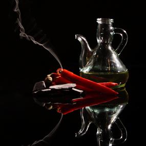 Hot chili oil by Veronika Gallova - Food & Drink Cooking & Baking ( #chili, #chili_oil, #red_chili, #burning_chili, #hot_chili,  )