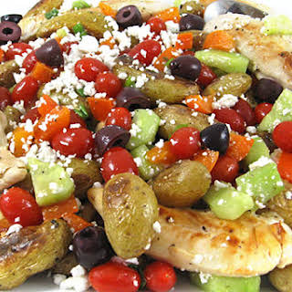 Greek-Style Chicken and Roasted Potatoes, Low Calorie and Bursting with Flavor.