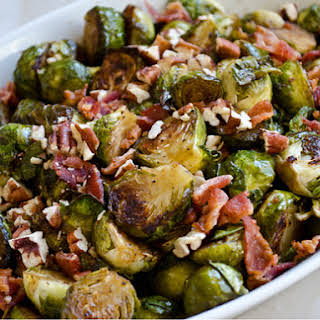 Roasted Brussels Sprouts with Bacon, Pecans and Maple-Balsamic Vinaigrette.