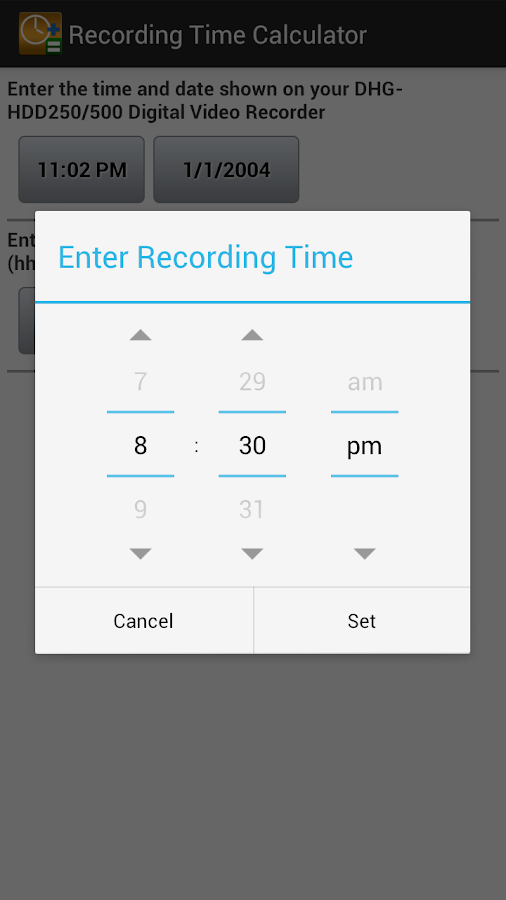 Recording Time Calculator - screenshot