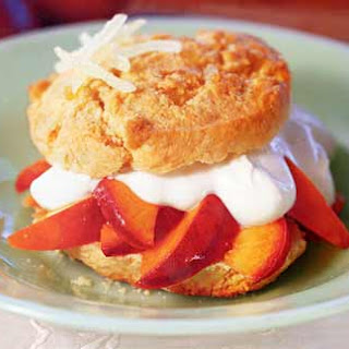 Caramelized-Nectarine and Ginger Shortcakes with Sour Cream.