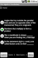 Screenshot of Pre-Algebra Pocket Guide, Quiz