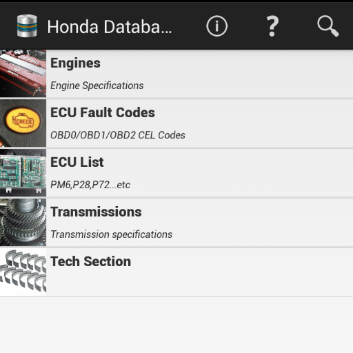 Tech Database for Honda Donate app for Android