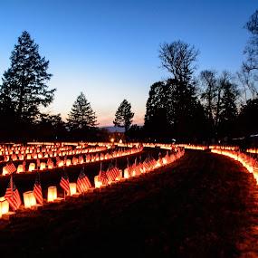 by Michelle Nolan - City,  Street & Park  Cemeteries ( memorial, pa, cemetary, night, gettysburg )