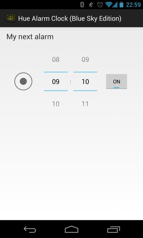 Hue Alarm Clock (Blue Sky Ed.) - screenshot