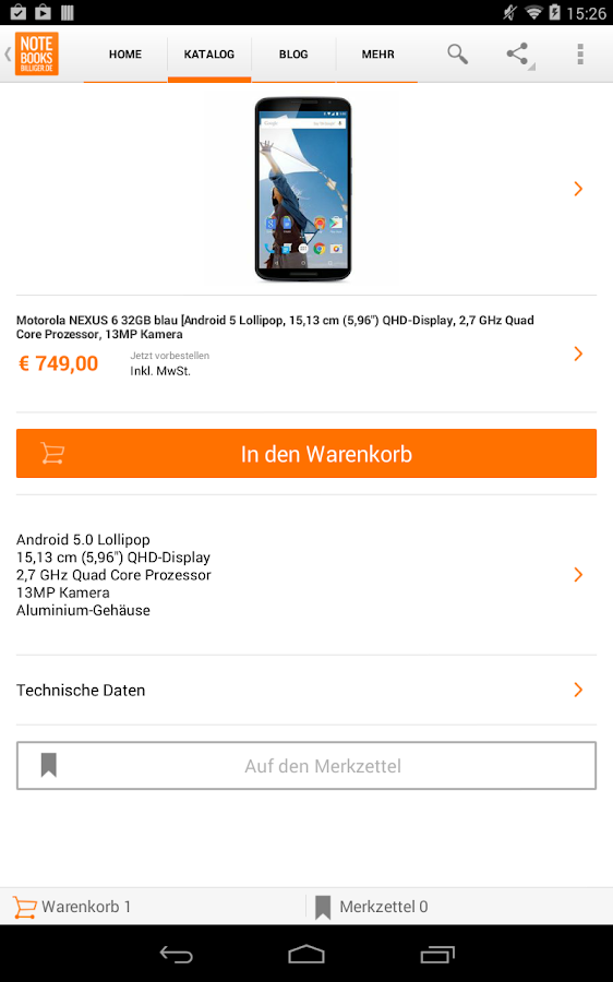 notebooksbilliger.de App - screenshot