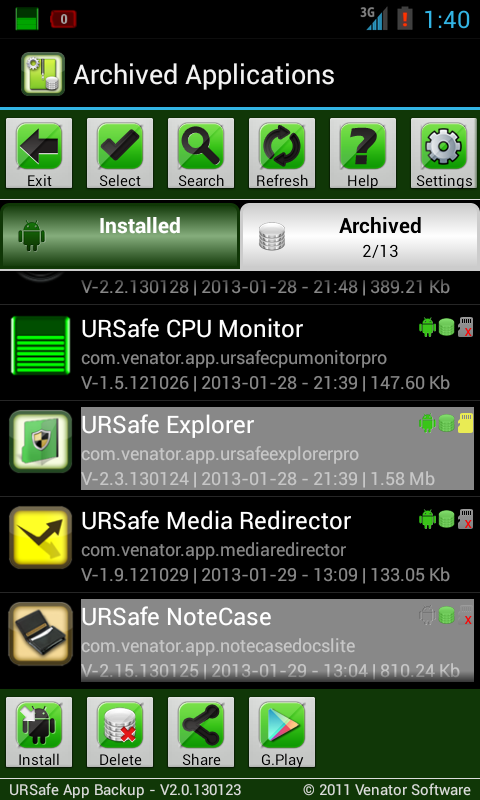 URSafe App Backup/Restore - screenshot
