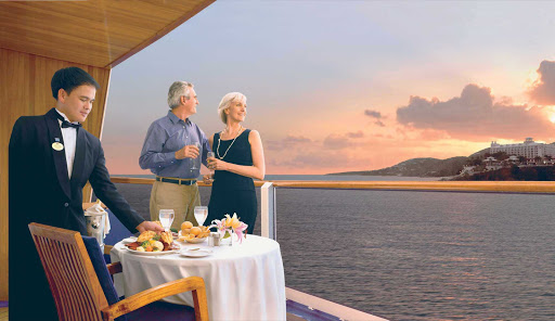 Princess-Cruises-balcony-dining - Dining with a view for two: Guests who choose a Balcony Stateroom get to soak up the views on their private veranda.