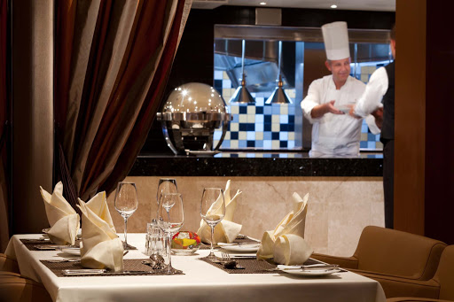 Seabourn_Odyssey_Sojourn_Quest_The_Colonnade_chef - Watch the chef cook right before your eyes during dinner at The Colonnade during your Seabourn sailing.