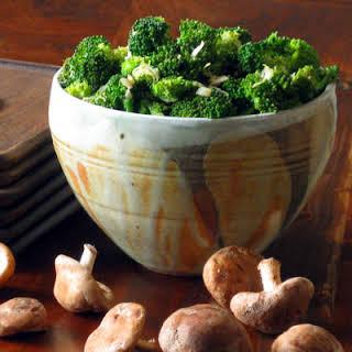 Broccoli Salad with Lemon, Garlic and Shitake Mushrooms.
