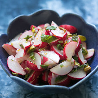 Radish Salad with Mint and Pistachios.