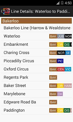 London Train Route Planner - screenshot