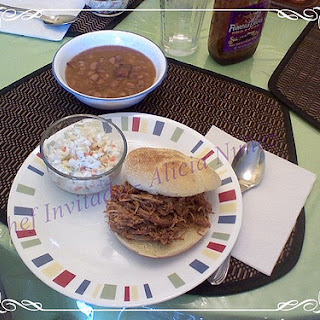 Barbequed Pulled Pork Sandwich and Baked Beans.