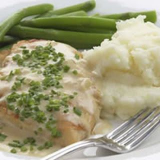 Sautéed Chicken Breasts With Creamy Chive Sauce.